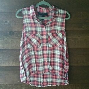 NEW Polly & Esther coral plaid button tank L